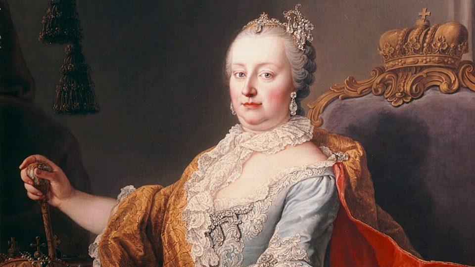 Martin van Meytens: Cícařovna Marie Terezie (olej na plátně, výřez, 1759)