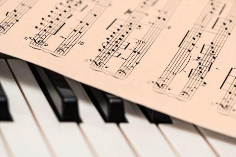 klavír, piano, noty, partitura