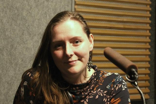 Markéta Kočí-Machačíková ve studiu Českého rozhlasu Olomouc